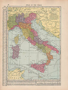 Cities In Sicily Italy Map.Details About 1909 Map Italy Corsica Sardinia Sicily Rome Tuscany Provinces Cities Towns