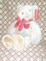 Dan Dee Collectors Choice Valentines Bear Plush Brown Gray Velvet Heart 20