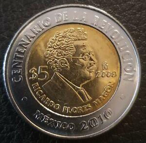 5 pesos Mexico 2010 km# 903 UNC Ricardo Flores Magon