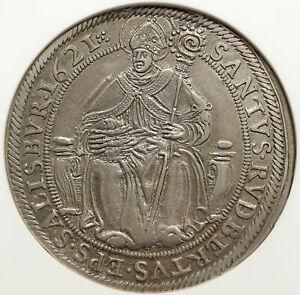 1621-AUSTRIA-Salzburg-SAINT-RUPERT-Antique-Silver-Taler-Austrian-Coin-NGC-i85149
