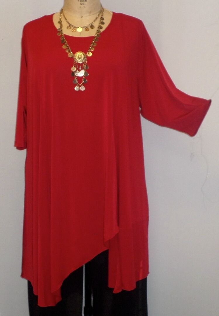 Coco & Juan Lagenlook Plus Size Tunic Red Traveler Knit Asymmetric Top 1416 B46