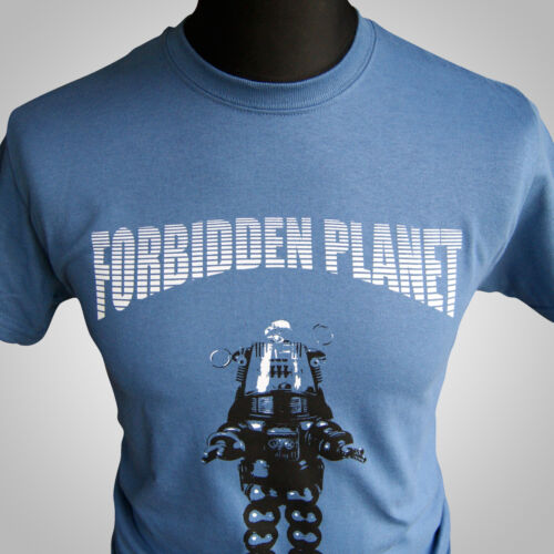 Forbidden Planet Retro Movie T Shirt Robby the Robot Cult Classic Sci Fi Indigo