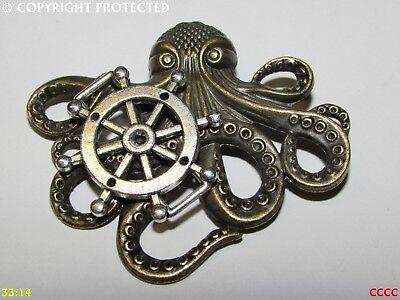 steampunk brooch badge pin bronze kraken octopus tentacle pirate black sails