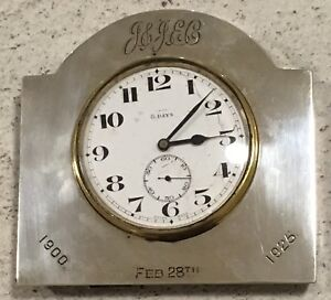 Hallmarked Silver Swiss Made Walker amp Hall 1923 Desk Clock Antique Inscription - London, London, United Kingdom - Hallmarked Silver Swiss Made Walker amp Hall 1923 Desk Clock Antique Inscription - London, London, United Kingdom