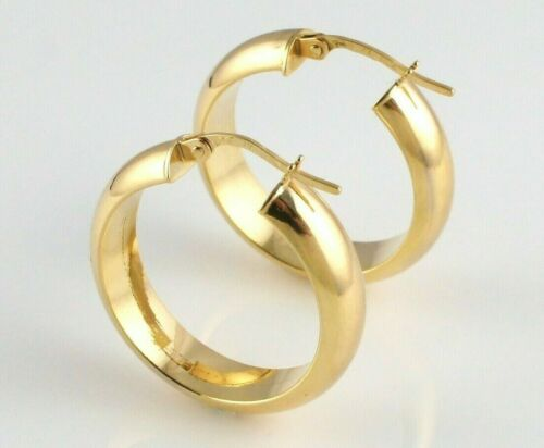 New 9ct Yellow Gold Round Plain Hoop Earrings 20mm