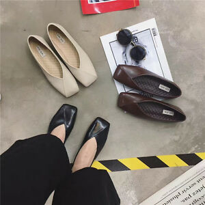 New-Fashion-Women-Cross-V-Shallow-Square-Toes-Flats-Slip-On-Loafers-Casual-Shoes
