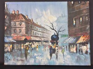 Huile-sur-toile-signe-Duchamp-boulevard-de-Paris