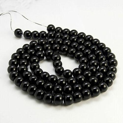 50 despierta de vidrio perlas 8mm negro brillante perlas abalorios