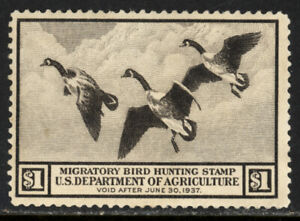 SCOTT RW3 1936 $1 DUCK STAMP ISSUE MNH OG F-VF CAT $230!