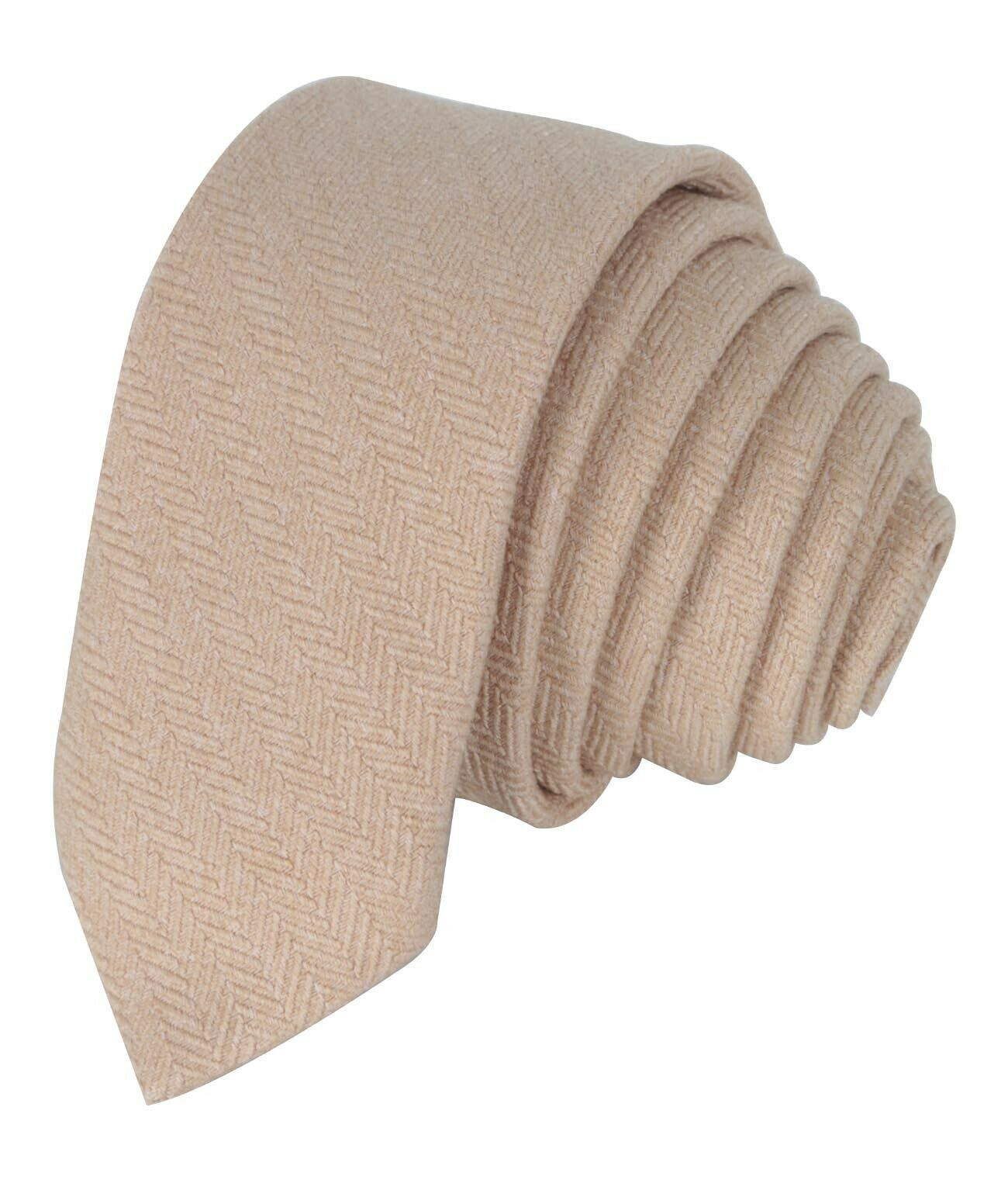 Mens Boys Kids Wedding Herringbone Tweed Beige Slim Tie /& Pocket Square Set