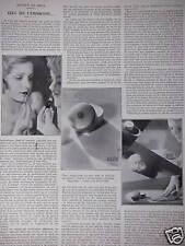 ARTICLE DE PRESSE DE 1933 SUR LES PRODUITS RIGAUD ROUGE A LÈVRES POUDRE