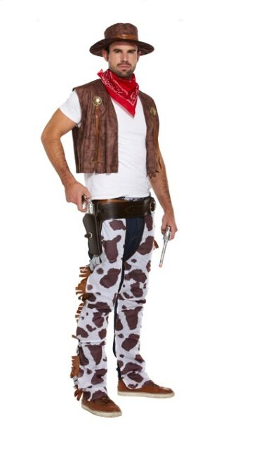 ADULT Cowboy Outfit Fancy Dress Costume XMAS Stag Party Rodeo Wild West Festival