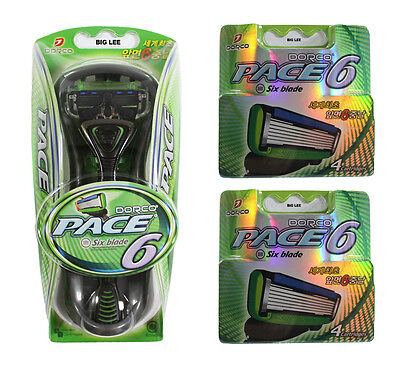 DORCO PACE 6 1 Razor+ 8 Cartridges Refills Total 9 Blades BRAND NEW SEALED