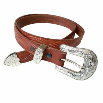 Made in the USA Mens Rockmount Vintage Distressed Conchos Western Belt