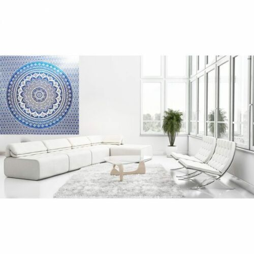 Blue Flower of Life Ombre Medallion Tapestry Indian Bedspread Cotton Beach Towel