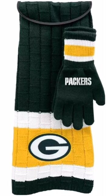 914b8e85 100 Authentic Green Bay Packers Scarf & Glove Gift Set NFL