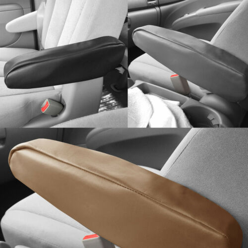 Faux Leather Pair Auto Car SUV Minivan Truck Armrest Covers Black Gray or Beige