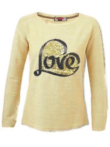 Donna Girly Glitter Maglia Maglione Pullover LOVE CUORE PAILLETTES S 36 BEIGE ORO