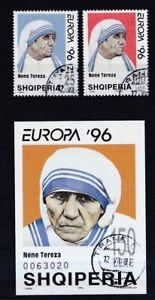 Albanien-gestempelt-MiNr-2589-2590-und-Block-107-Beruehmte-Frauen-Mutter-Teresa