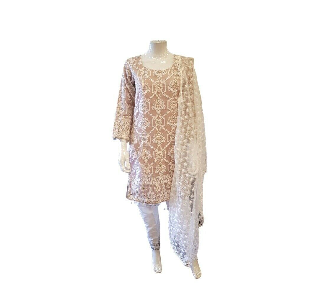 Womens Pakistani Net Embroidered Suit 3 Pc