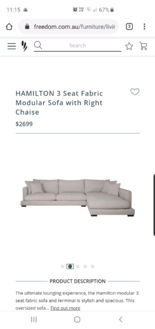 Fine Brand New Freedom Hamilton Sofa Steel Grey Right Terminal Bralicious Painted Fabric Chair Ideas Braliciousco