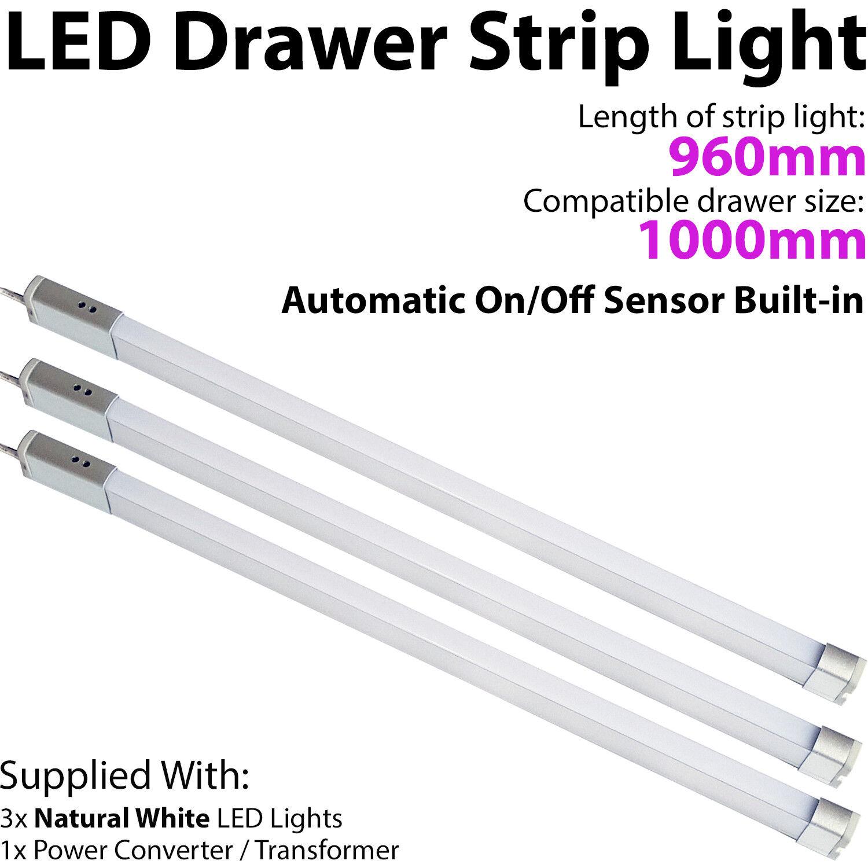 3x 1000mm LED Drawer Strip Light –AUTO ON OFF PIR SENSOR– Kitchen Cupboard Door
