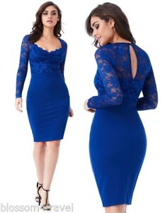 4479ed935a Image is loading Goddess-Blue-Long-Sleeve-Scallop-Lace-Sweetheart-Cocktail-