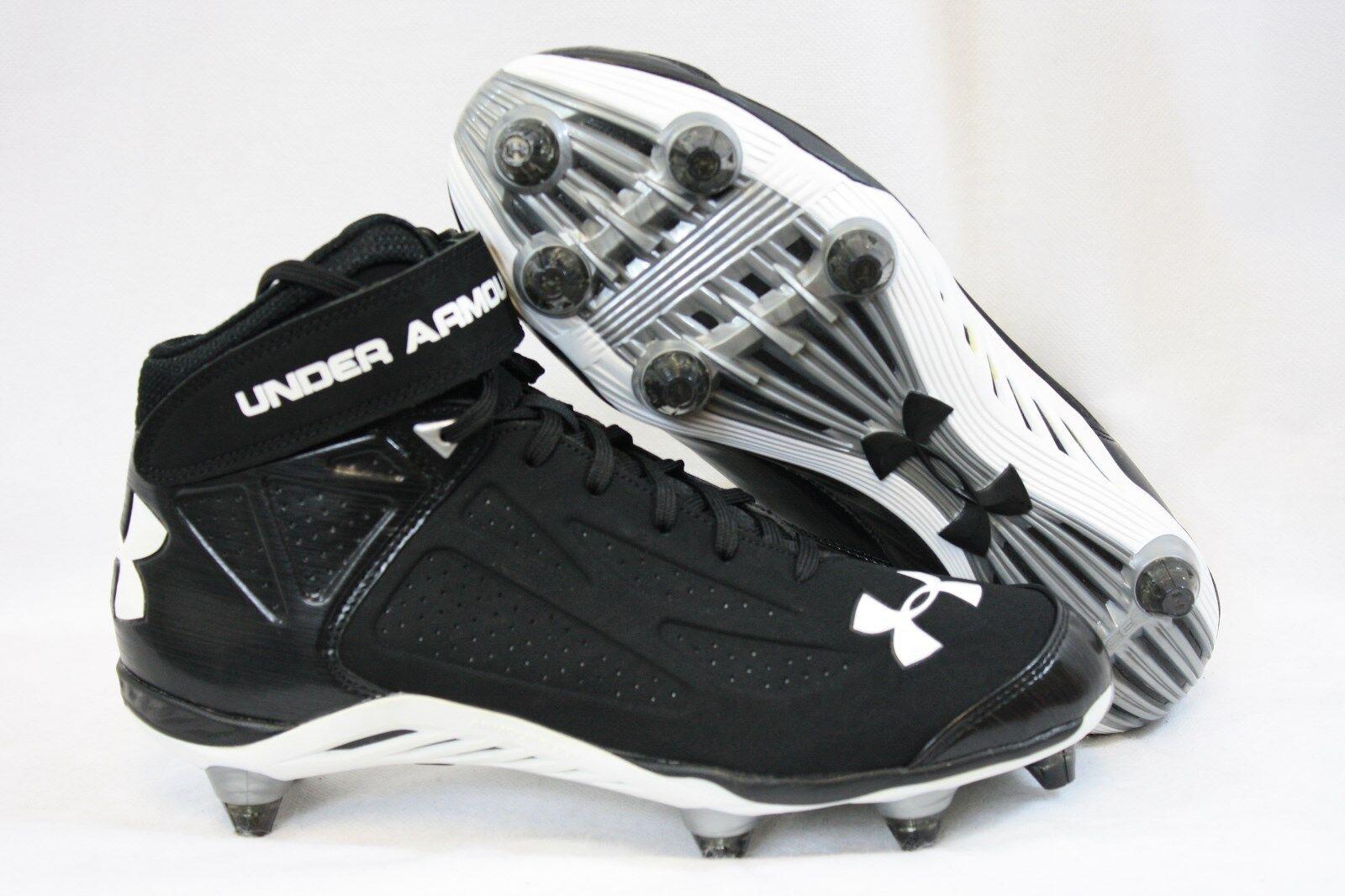 NEW Mens UNDER ARMOUR UA Run N Gun D 1235873 011 Black Football Cleats Shoes