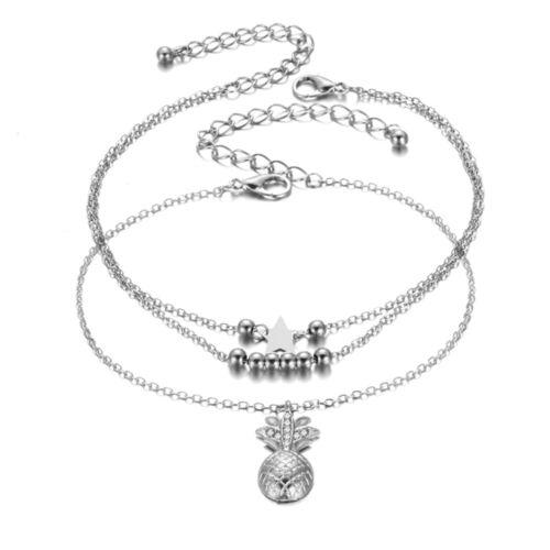 Bracelet de pierna COLGANTE Piña tobilleras cadena de Pie de mujer oro plata LUJO