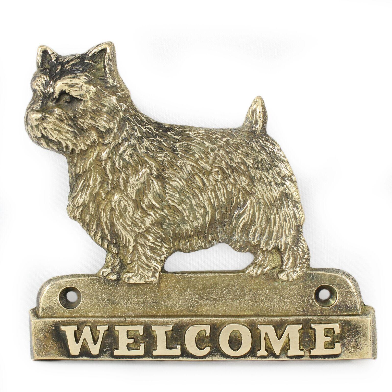 Norwich Terrier  plaque de laiton avec un  en 'WELCOME' Art Dog FR