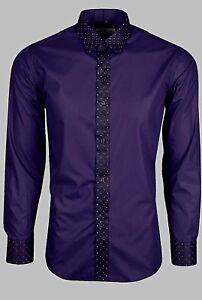 huge discount 367fc 223b2 Details zu Herren Party Hochzeit mit Glänzend Ränder auf Kragen &  Manschetten Hemd (318