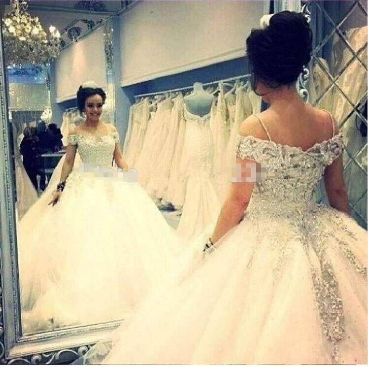 Ball Gown Sequins Lace Beaded Wedding Dresses Bridal Gowns Size 6 8 10 12 14 16+