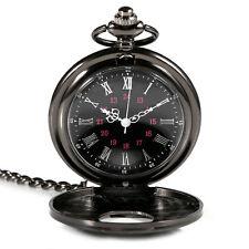 Retro vintage black pocket watch necklace quartz movement antique