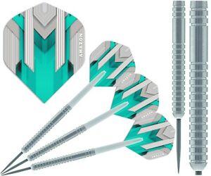 TUNGSTEN Darts Set - White Stems / Shafts + NEW STRONG Dart Flights 22g/23g/24g