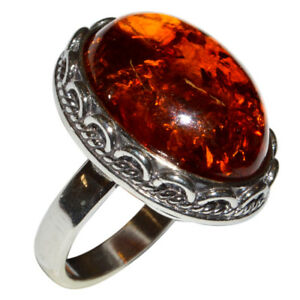 8-3g-Authentic-Baltic-Amber-925-Sterling-Silver-Ring-Jewelry-N-A7001