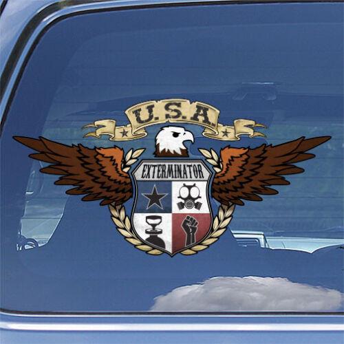 American Eagle Exterminator Decal USA patriotic pest control crest sticker