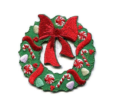 Holly Candy Cane Embroidered Iron On Applique Patch Red Hat Christmas