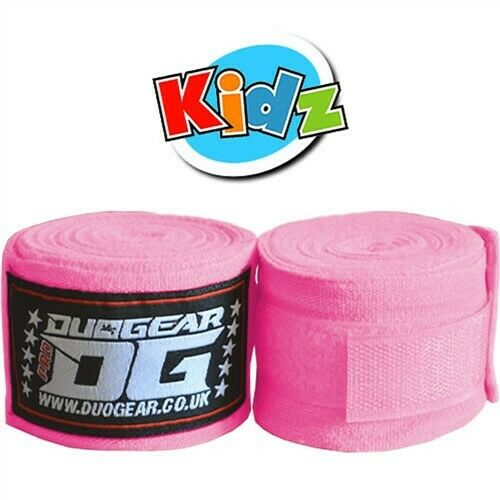 KIDS YOUTH JUNIOR PINK PAIR OF WRAPS FOR MMA KICKBOXING SPORTS TRAINING 1.5m