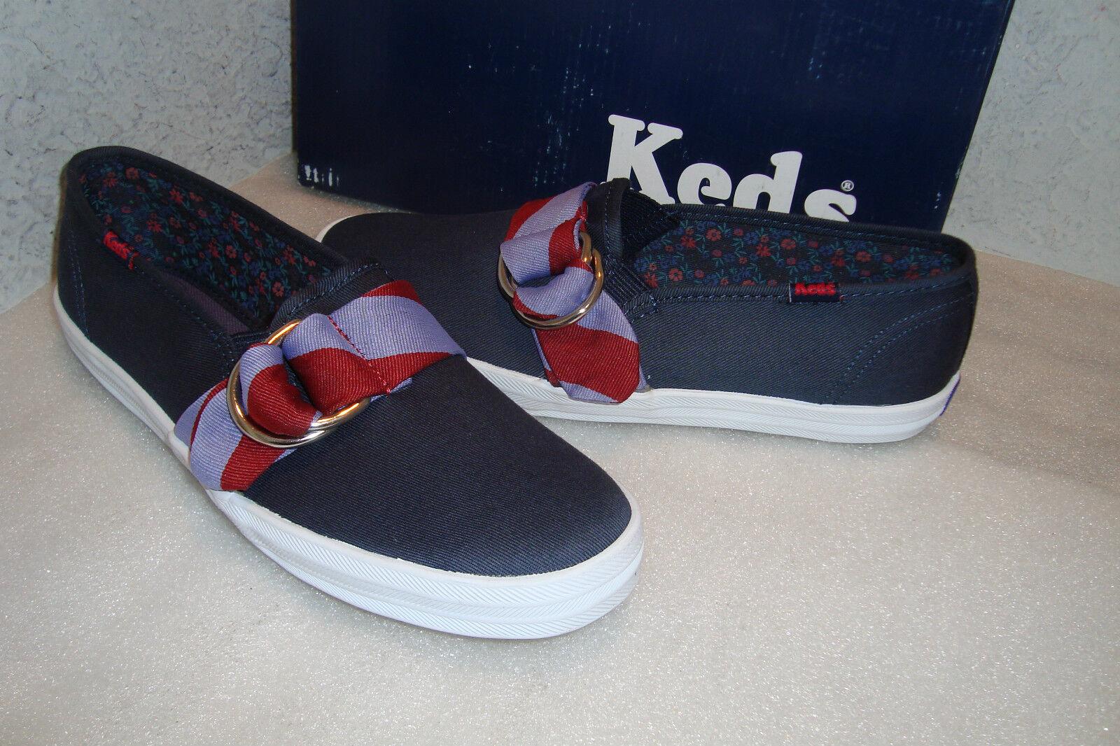 Keds Damenschuhe NWB CH REP Stripe Navy ROT Flats Schuhes 5 MED NEU
