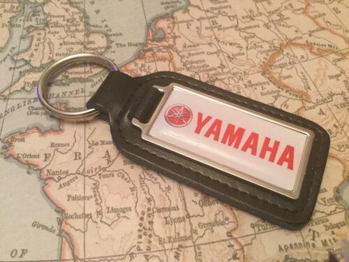 Yamaha Qualität Schwarz Echtleder Schlüsselanhänger Rechteckig