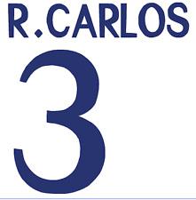 Real Madrid R Carlos Nameset Shirt Soccer Number Letter Heat Print Football 98 H