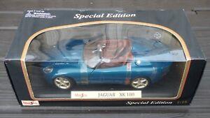 Raro-1998-Jaguar-XK180-Azul-1-18-Maisto-Vintage-Coche-De-Juguete-Coleccionable-Roadster