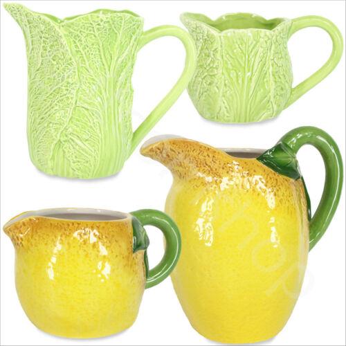 Gisela Graham Vintage Ceramic Jugs Water Pitcher Vase Milk Creamer Yellow Green