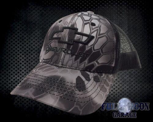 NEW Chevrolet Chevy Black Silver Camo Snapback Trucker Mens Cap Hat