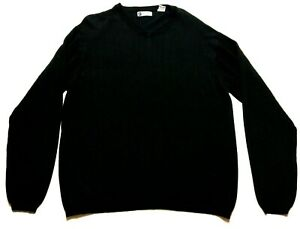 Bachrach-mens-Black-Long-Sleeve-V-Neck-Sweater-Size-Large