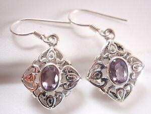 Faceted-Amethyst-Filigree-925-Sterling-Silver-Dangle-Earrings-Corona-Sun