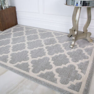 Details About New Grey Silver Plain White Trellis Gorgeous Living Room Area Rug Large Bedroom