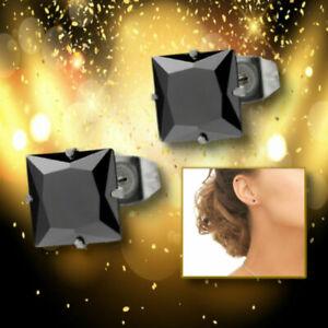 Glamorous-Elegant-Fashion-Ear-Stud-Black-CZ-Crystal-925-Sterling-Silver-Earrings