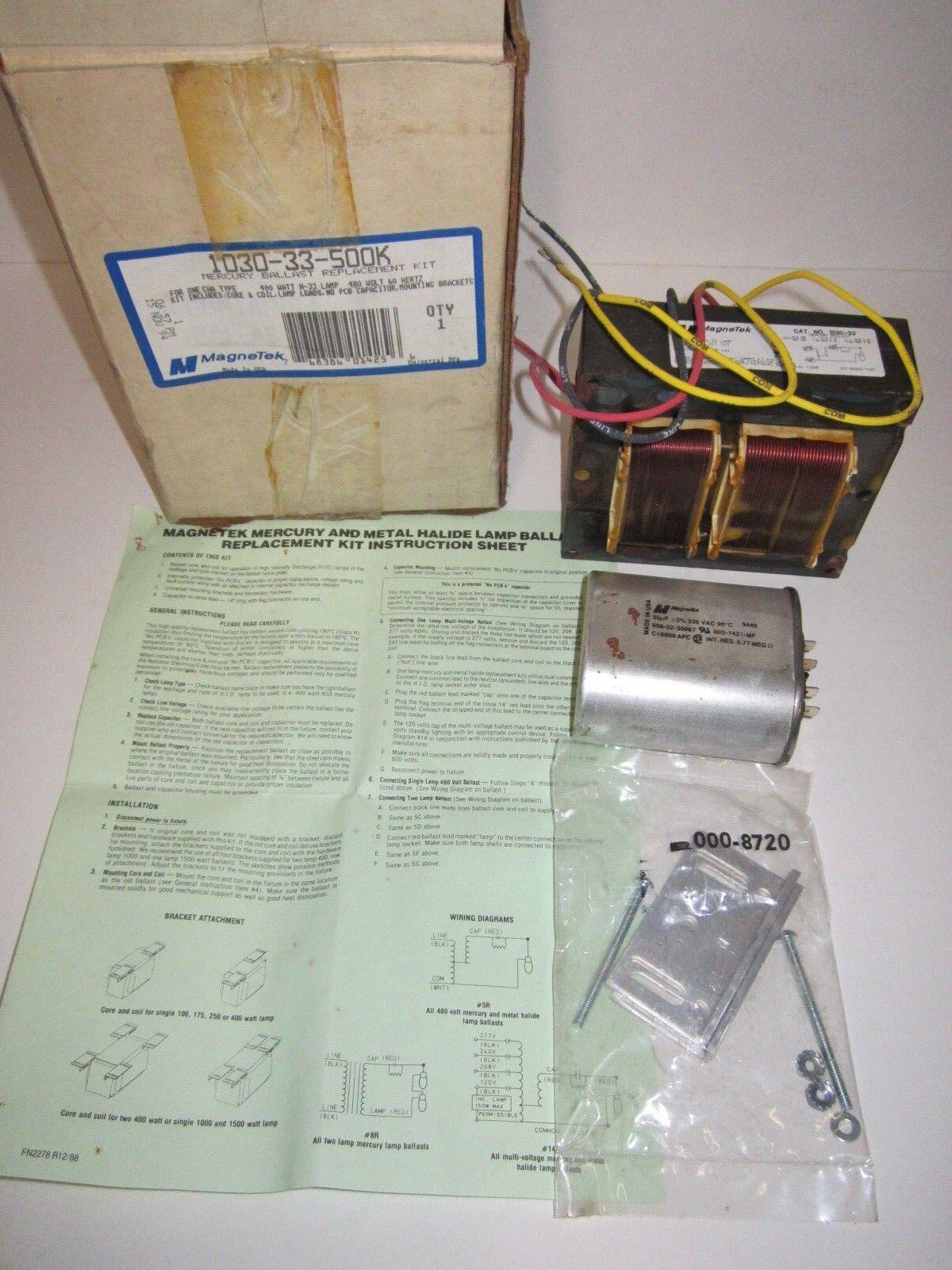 Magnetek Mercury Ballast Replacement Kit 1030-33-500k 480v 400w on