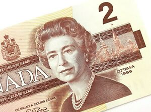 1986-Canada-2-Dollars-AUU-Uncirculated-Canadian-Thiessen-Crow-Banknote-M947